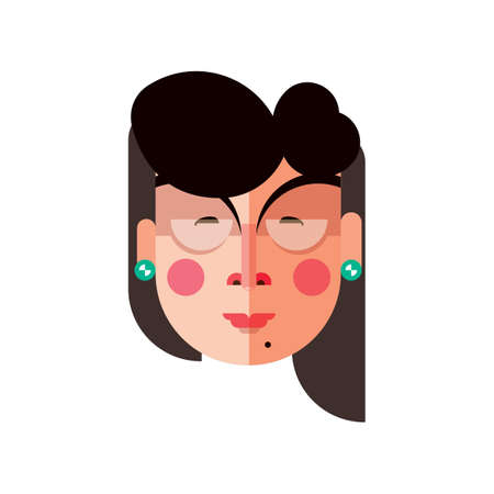 blushing: woman with earrings Illustration