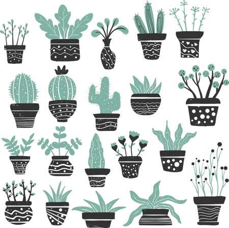 植物アイコンのセット  イラスト・ベクター素材
