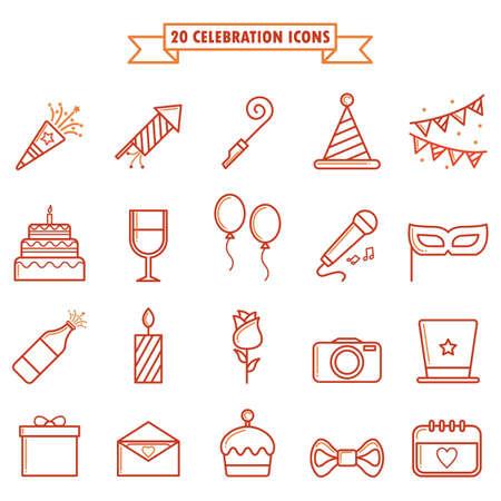poppers: set of birthday icons Illustration