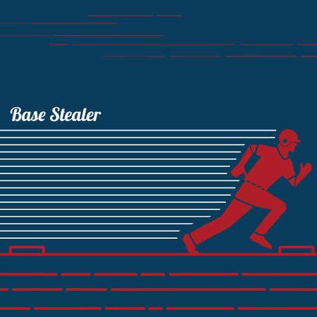 baseball base stealer Illustration