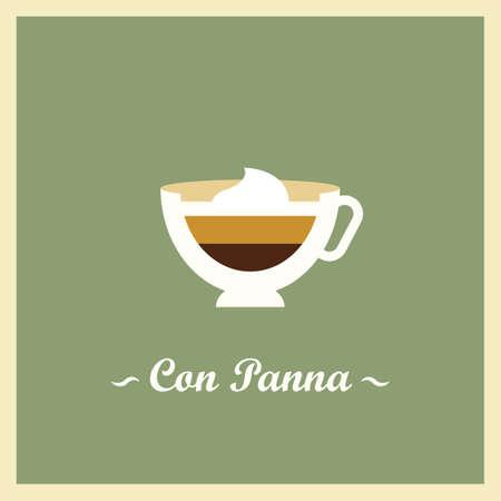 espresso con panna Illusztráció