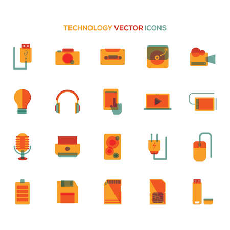 speakers: Set of technology icons Illustration