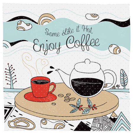 some like it hot coffee design Illustration