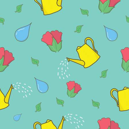 rose and watering can background design