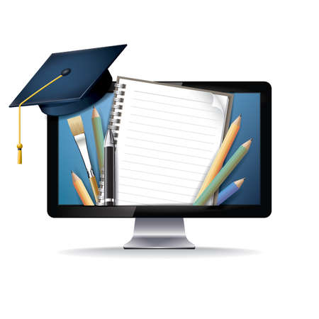 computer education: e learning concept with computer Illustration