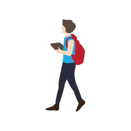 man walking with a book Stock Vector - 76966063