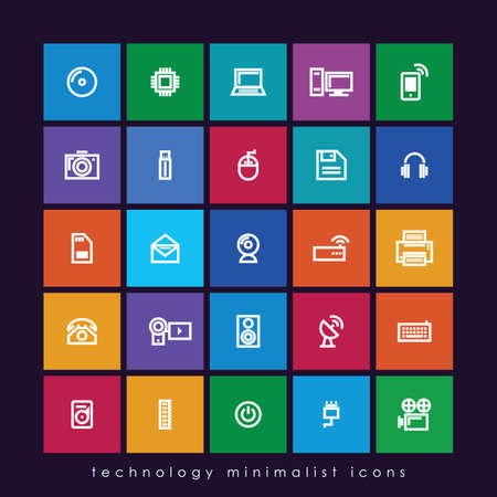 technology minimalist icons Çizim