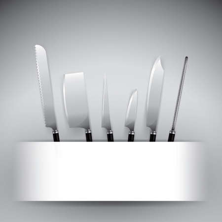set of kitchen knives Ilustrace