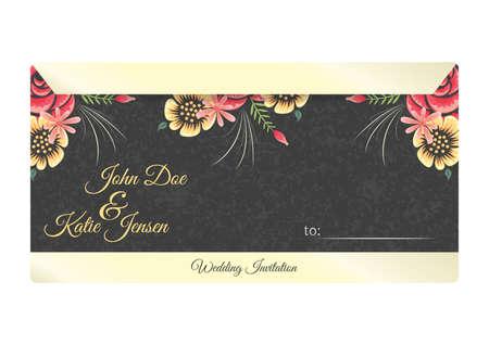 結婚式の招待状手紙のデザイン  イラスト・ベクター素材
