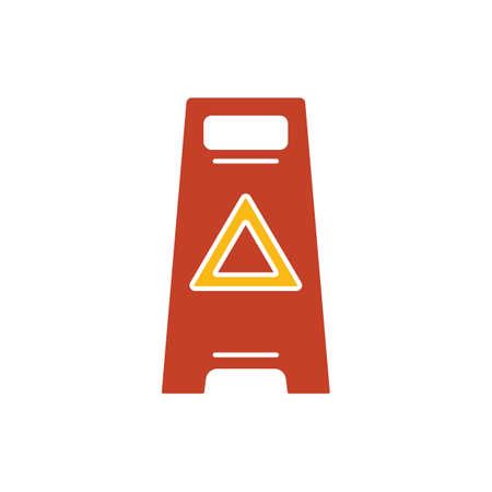 wet floor caution sign Illustration