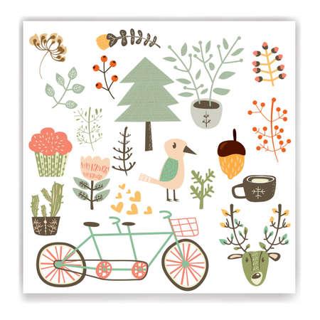 Sammlung von Herbst Themen Designs Standard-Bild - 76966388