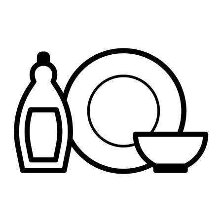 Wasmiddel met serviesgoed Stock Illustratie