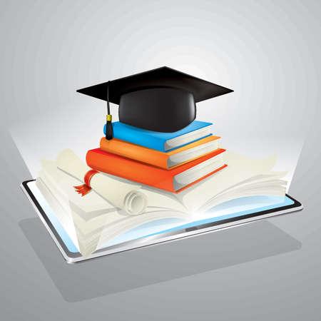 デジタル タブレットで電子学習の概念  イラスト・ベクター素材