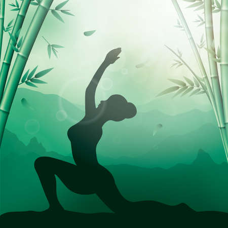 Silhouette of woman doing yoga Illustration