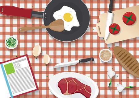台所のテーブルの flatlay  イラスト・ベクター素材