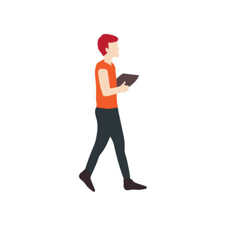 man holding transparent: Man walking with a book