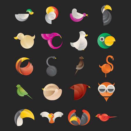 abstract birds set