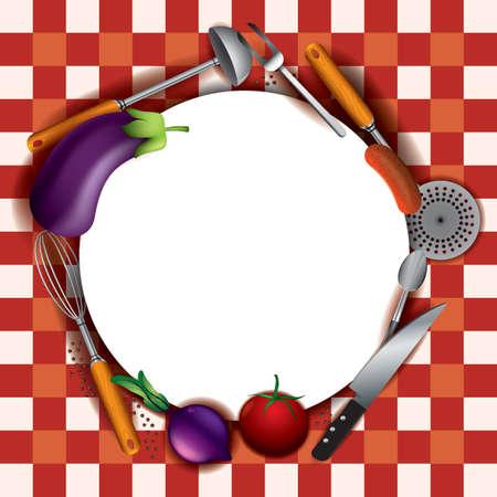 フラットのキッチン用品や食材