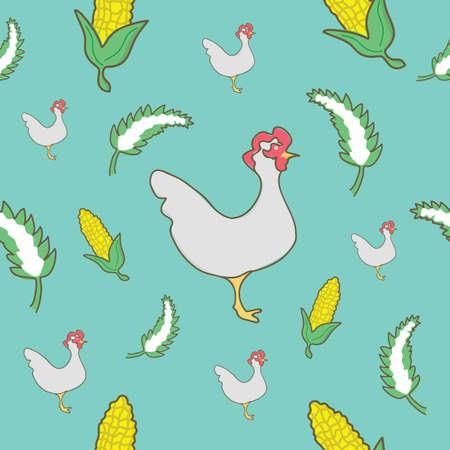 chicken and corn background design Illustration