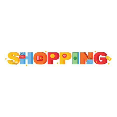Shopping lettering design Illustration