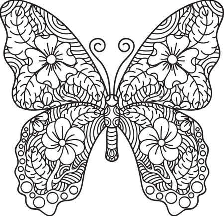 Intricate butterfly design illustration vector