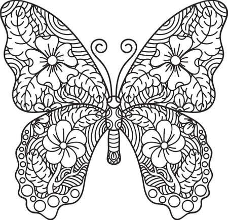 Vecteur d'illustration de conception papillon complexe Banque d'images - 77162193