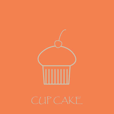 Cupcake simple vector in pink background