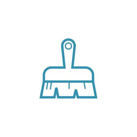 Blue hand sweeper minimalistic vector symbol isolated flat illustration graphic design
