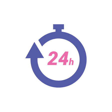 24 hour icon isolated flat illustration graphic design
