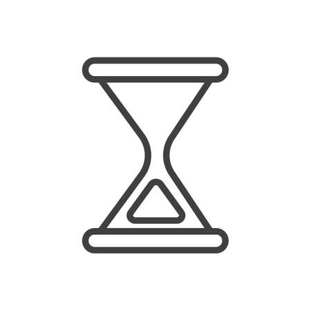 Simple minimalistic black and white hourglass icon vector