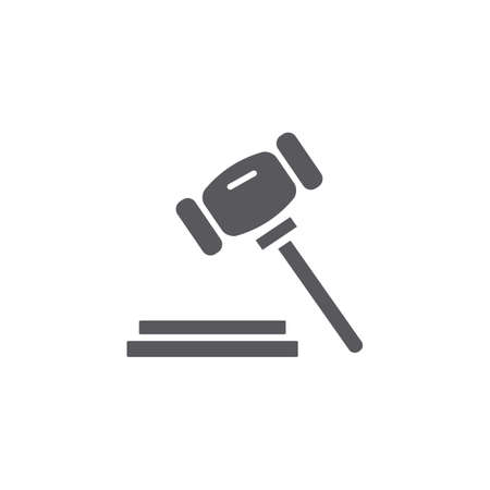 Black and white simple court mallet vector isolated flat illustration graphic design
