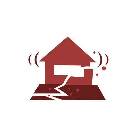 House and earthquake concept isolated flat illustration graphic design