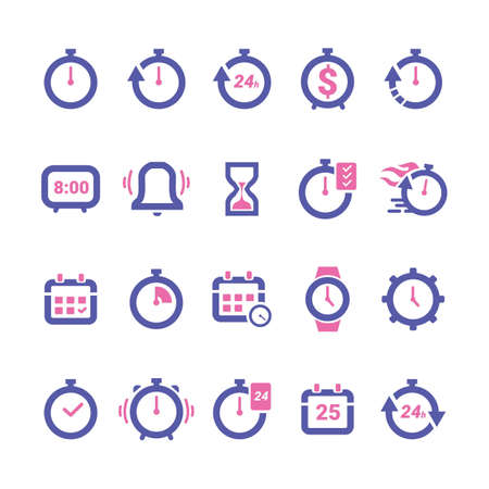 Collection of timing icons vector illustration isolated flat illustration graphic design
