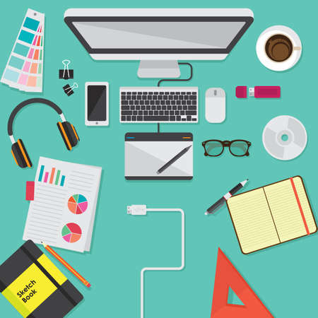 Workspace design flatlay vector illustration