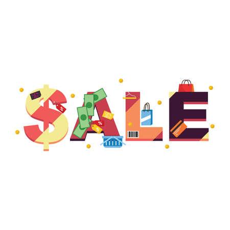 Sale lettering design vector illustration isolated flat illustration graphic design