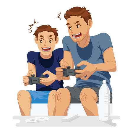 father playing video games with son
