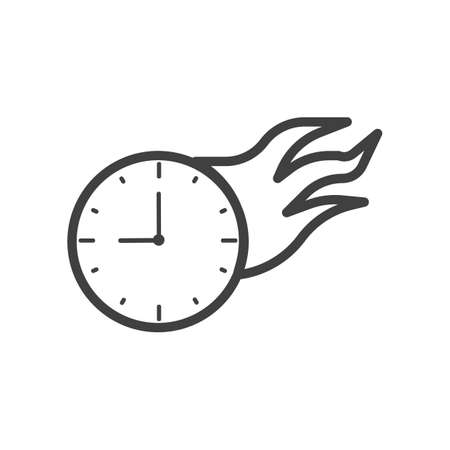 Fire clock vector illustration outline isolated flat illustration graphic design