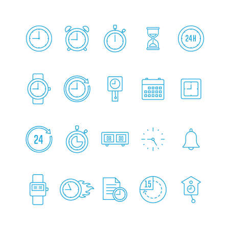 Collection of clock icons Illustration