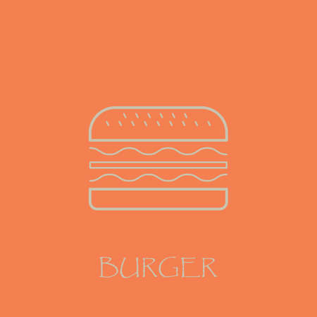 Burger line art with pink background vector