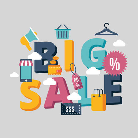 Big sale lettering design Illustration