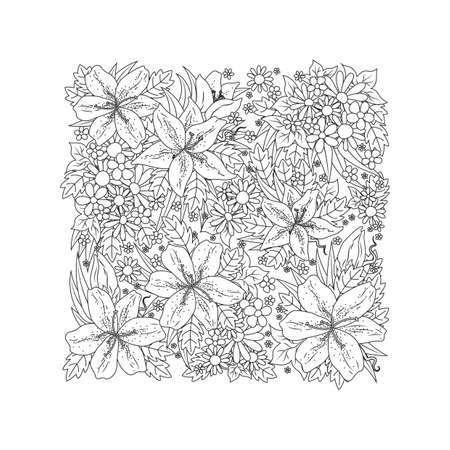 複雑な花のデザイン  イラスト・ベクター素材