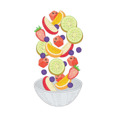 Tossed fruit salad vector illustration