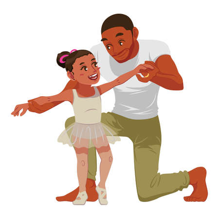 Father teaching daughter ballet 일러스트