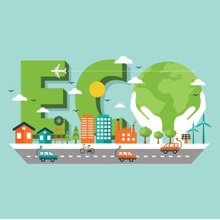 Eco lettering design Stock Vector - 77372354