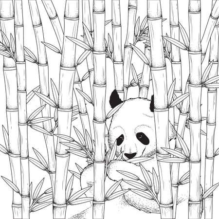 Panda with bamboo design