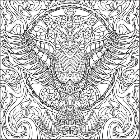 Diseño Intrincado Del Búho Ilustraciones Vectoriales, Clip Art ...