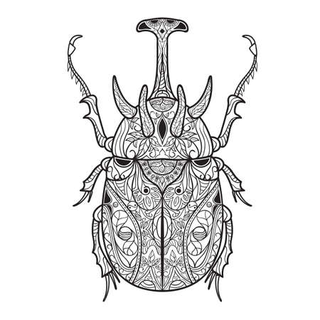 Intricate horned beetle design