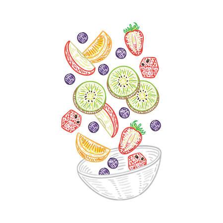 Tossed fruit salad Illustration