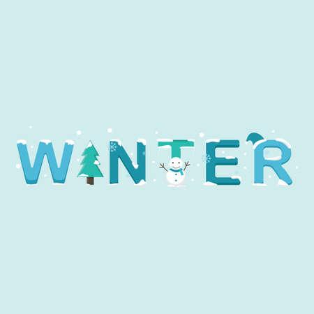 Winter lettering design Ilustração