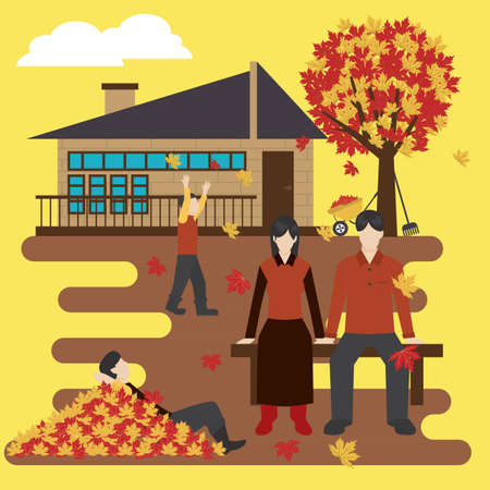 Family outing, family activities vector illustration